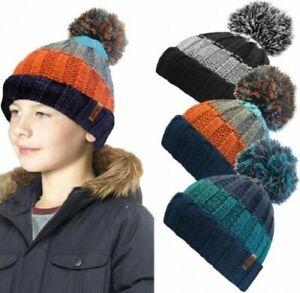 Boys Rock Jock Chunky Fleece Lined Bobble Pom Pom Hat Beanie 3 Colours UK Seller