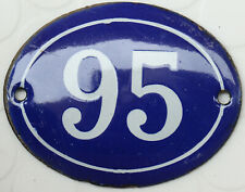 More details for old blue oval french house number 95 door gate plate plaque enamel steel sign
