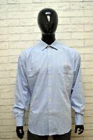 MISSONI EXAMPLE Uomo Camicia Blu Chiaro Taglia 2XL Maglia Camicetta Shirt Men's
