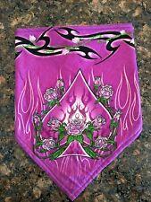 Pink Spade Roses Fleece Lined Biker Bandana