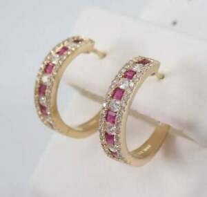 2.60Ct Princess Cut Red Ruby Diamond Huggie Hoop Earrings 14K Yellow Gold Finish