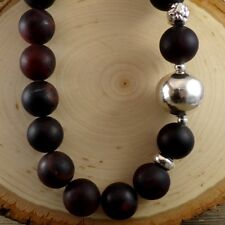 Silpada Sterling Silver N1822 Brown Agate Electroformed Bead Ball HEAVY Necklace