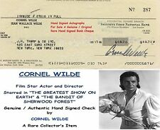 CORNEL WILDE FILM STAR ACTOR and DIRECTOR    HAND SIGNED BANK CHEQUE   RARE ITEM