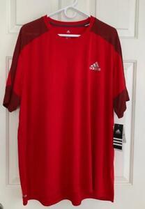 adidas Climalite Tee Men's 2XL Short Sleeve Mesh Tech Red Shirt NEW