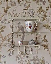 Shabby Chic Metal Wall Shelf Hook Storage Display Kitchen Bathroom Vintage Style