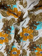 5 Metres Beige Retro Leaf Leaves Printed 100% Cotton Poplin Fabric