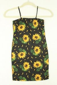 Kid's Girls SHEIN Spaghetti Straps Sunflowers Black Short Dress Sz 9Y NWT