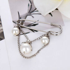 Women Vintage Pearl Chain Sweater Brooch Shawl Pin Safety Pins Bridal Jewelry