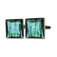 Green Matrix Cypher Code LCD Computer Screen Cufflinks BNIB