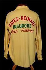 Selten Vintage 591mS Gelb Bestickt Gabardine Bowling Hemd Größe M- L