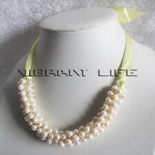 "18"" 7-8mm White Freshwater Pearl Bib Necklace Yellow Rope UK"