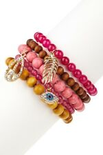 Peace Forever Wood & Pink Beaded Stackable Stretch Bracelet Set