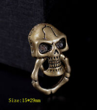 5X Retro Brass Skull Bone Ring Wallet Chain Connector Leathercraft Purse Concho