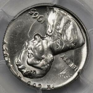 1965 PCGS MS65 Cent Struck on Struck Dime Double Denomination Mint Error 2 Dates