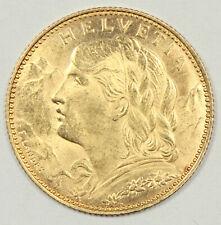 BRILLIANT UNCIRCULATED 1915 SWISS HELVETIA GOLD 10 FRANCS .09335 AGW SWITZERLAND