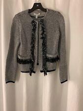 Max Mara Blazer Jacket Ruffle Black White Sz S Knitted