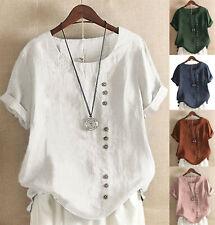 UK Women Summer Short Sleeve Loose Tops Cotton linen T-shirt Blouse Plus Size