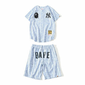 Men/'s A Bathing Ape Bape White Striped Breathable Cardigan Baseball T-shirt Teen