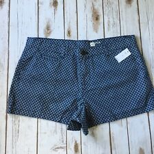 "New Gap Shorts Women 14 Large Summer Blue Print Low Rise 100% Cotton 3"" Inseam"