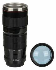 LARGE CAMERA LENS SHAPED THERMOS TEA COFFEE MUG CUP 440ML STAINLESS STEEL INSERT