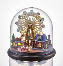 Mini Glass DIY Wooden Dollhouse Kit all Furniture&LED light / Music Box English