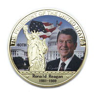 US 40th President Ronald Reagan Eagle Commemorative Gold Coin Collectible Gift