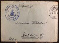 1916 Leipzig Germany Felpost Reserve Lazarett Cover To Dobitschen