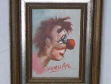 """Vtg 60's I. Farwell Pope modernist Clown Original Oil Painting Framed 8.5x10.5"""""""