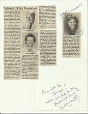 Ed Begley & Barbara Whinnery - Original Autographed Card with Newspaper Article