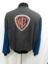 Vintage WB Warner Brothers SPORTSWEAR Varsity Jacket Gray Wool Leather Large L