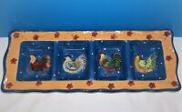 Certified International Susan Winget COUNTRY COLLAGE 4 Part Divided Relish Tray