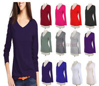 Women V Neck T Shirt Ladies Long Sleeve Plain V Neck T-Shirt Top Plus Sizes 8-26