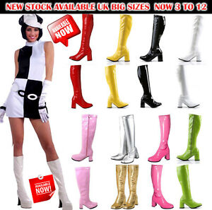 New Women's Ladies Fancy Dress Party GO GO Boots - 60s & 70s Party Sizes 3 TO 12