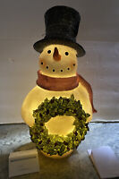 "15"" Lighted Glitter Christmas Snowman Holly Berry Wreath Figure Valerie H211899"