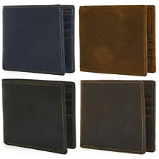 Men's RFID Blocking Crazy Horse Leather Multi-Currency Compact Bifold Wallet