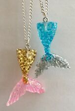 Resin Mermaid Tail Glittery Charm Necklace Silver Plated Pink Turquoise