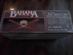 """Vtg 1990s Bahama Fans 52"""" Ceiling Fan -Antique Brass w Oak Finish Wood Blades"""