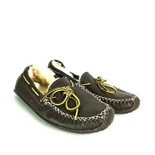 Minnetonka Moccasins 3752 Men Sheepskin Lined Moosehide Slipper Size 10 Brown