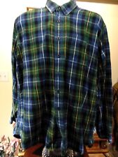 LL Bean Men's Green Flannel Shirt Cotton Plaid Check Oxford Button Front XL
