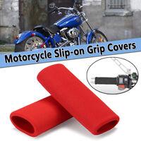 2Pcs Red Motorbike Motorcycle Slip-on Foam Anti Vibration Handlebar Grip  NEW