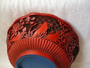 Beautiful Red Cinnabar Asian Carved Lacquer Bowl, Blue Inside