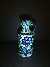 VINTAGE ARMENIAN POTTERY GLAZED PITCHER PUNCHY GREEN & BLACK