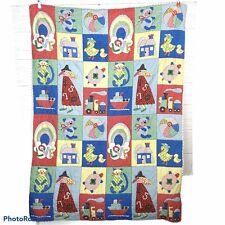 "VTG Colorful Baby Crib Quilt Polka Dot Gingham Patchwork Ric Rac Trim 56"" X 42"""