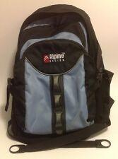 Alphine Design Backpack~Day Pack~School~Hiking~Black/Lt Blue
