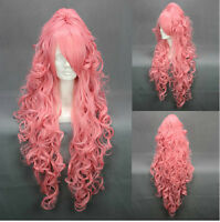 Fashion Women Long Pink Wavy Curly Hair Ladies Cosplay Party Synthetic Full Wigs