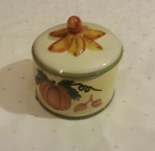 Sonoma Ceramic Candle with lid Fall Theme used