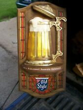 Vintage Old Style Beer Bubbler Bar Stein Sign Not Lighted Not Metal