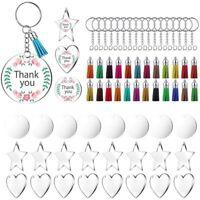 72 Pieces Acrylic Transparent Discs,Blanks Charms and Tassel Pendants,Keyri J7G6