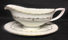 Royal Worcester Gold Chantilly Gravy Boat w/Unattached Under Plate
