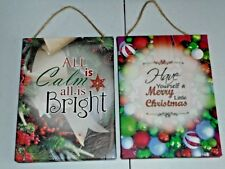 Christmas Canvas Print Sign Decor Lot All is Calm & Have Yourself a Merry XMAS